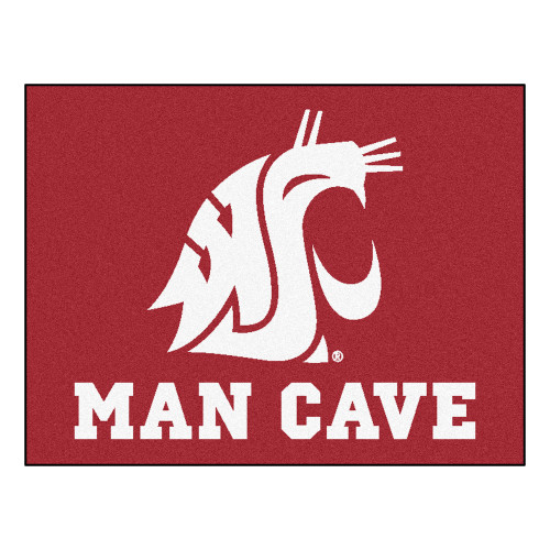 "33.75"" x 42.5"" Red and White NCAA Washington State University Cougars Rectangular Mat Area Rug - IMAGE 1"