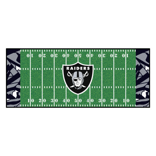 2.5' x 6' Black and Green NFL Oakland Raiders X-Fit Football Field Rectangular Area Rug Runner - IMAGE 1