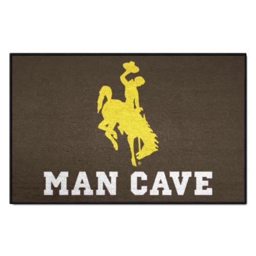 "19"" x 30"" Brown and Yellow NCAA University of Wyoming Cowboys Starter Rectangular Door Mat - IMAGE 1"