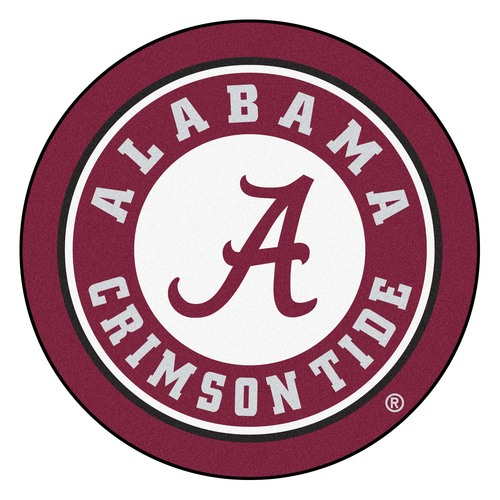 """27"""" Red and White NCAA University of Alabama Crimson Tide Rounded Non-Skid Mat Area Rug - IMAGE 1"""