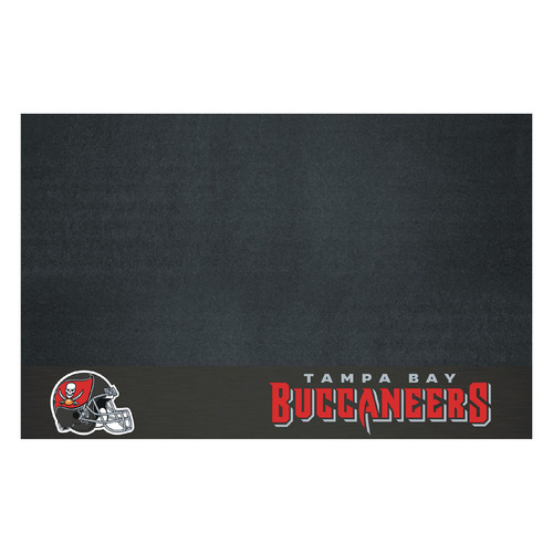 "26"" x 42"" Black and Red NFL Tampa Bay Buccaneers Grill Mat Tailgate Accessory - IMAGE 1"