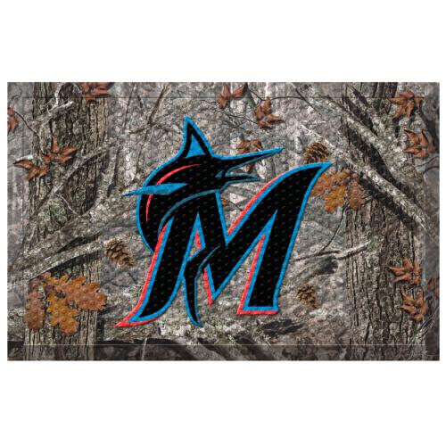 "Blue and Gray MLB Miami Marlins Shoe Scraper Doormat 19"" x 30"" - IMAGE 1"