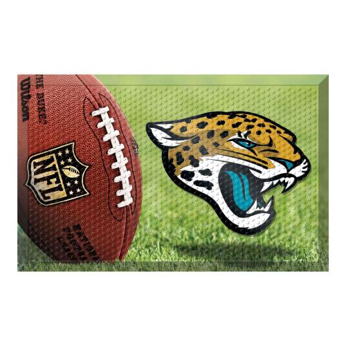 """19"""" x 30"""" Brown and Yellow NFL Jacksonville Jaguars Shoe Scraper Door Mat - IMAGE 1"""