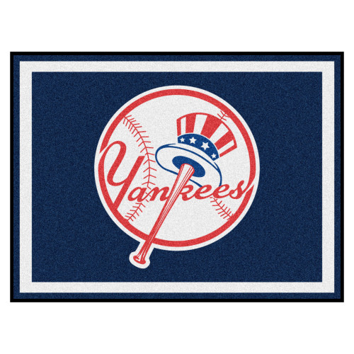7.25' x 9.75' Blue and White Contemporary NCAA New York Yankees Rectangular Area Rug - IMAGE 1