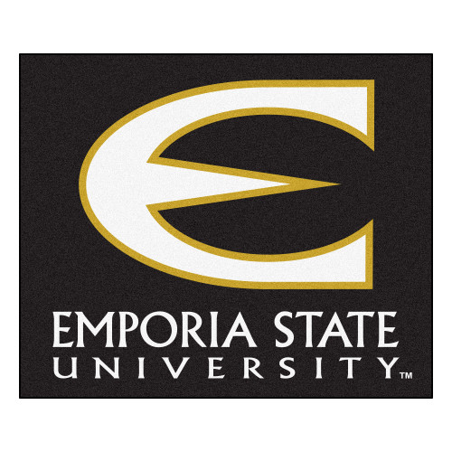 "59.5"" x 71"" Black and White NCAA Emporia State University Hornets Tailgater Mat Outdoor Area Rug - IMAGE 1"
