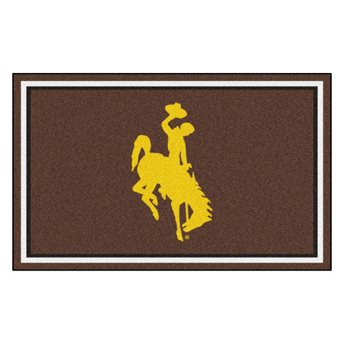 3.6' x 5.9' Brown and Yellow NCAA University of Wyoming Cowboys Plush Non-Skid Area Rug - IMAGE 1