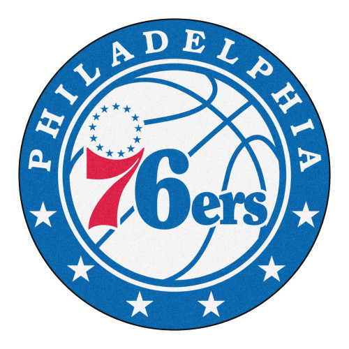 """27"""" Blue and White NBA Philadelphia 76ers Rounded Door Mat - IMAGE 1"""