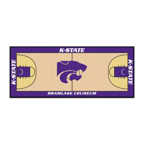 "30"" x 72"" Beige and Blue NCAA Kansas State University Wildcats Basketball Area Rug Runner - IMAGE 1"