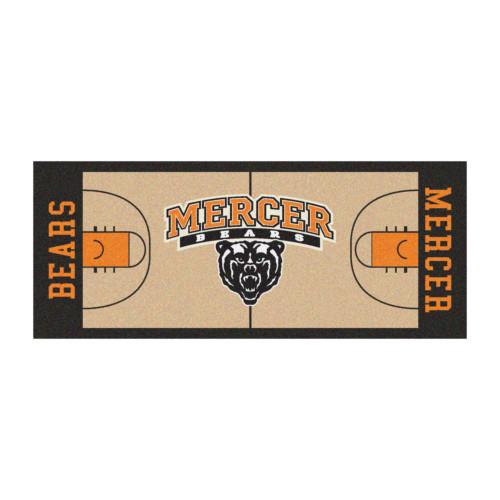 """30"""" x 72"""" Beige and Orange NCAA Mercer University The Thundering Herd Basketball Area Rug Runner - IMAGE 1"""