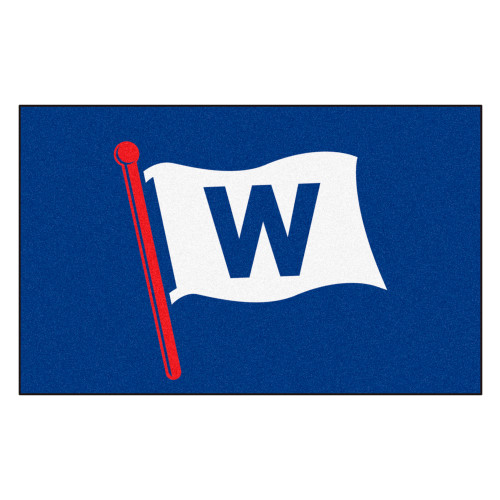 """59.5"""" x 94.5"""" Blue and White MLB Chicago Cubs Ulti-Mat Rectangular Outdoor Area Rug - IMAGE 1"""