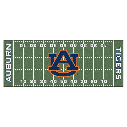 "30"" x 72"" Blue and Orange NCAA Auburn University Tigers Football Field Mat Area Rug Runner - IMAGE 1"