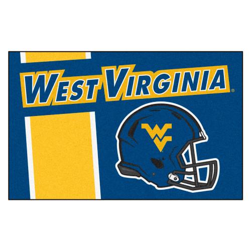 """19"""" x 30"""" Blue and Yellow NCAA West Virginia University Mountaineers Starter Rectangular Door Mat - IMAGE 1"""