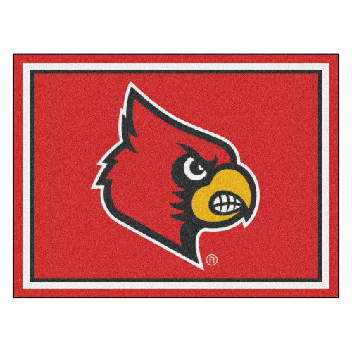 """87"""" x 117"""" Red and Yellow NCAA University of Louisville Cardinals Plush Non-Skid Area Rug - IMAGE 1"""