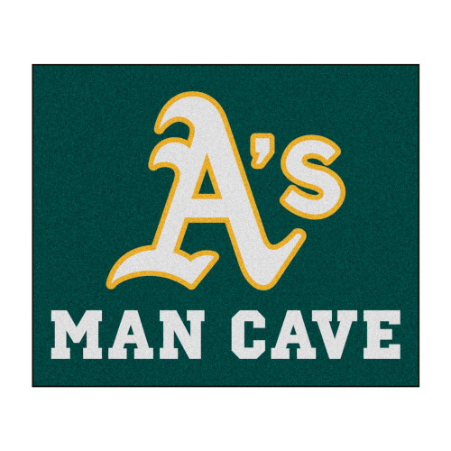 """59.5"""" x 71"""" White and Green MLB Oakland Athletics Man Cave Tailgater Rectangular Outdoor Area Rug - IMAGE 1"""