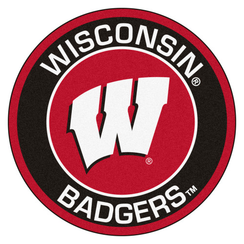 """27"""" Red and White NCAA University of Wisconsin Badgers Rounded Door Mat - IMAGE 1"""