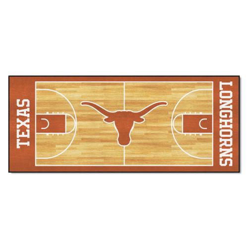 "30"" x 72"" Orange and White University of Texas Longhorns NCAA Basketball Mat Area Rug Runner - IMAGE 1"