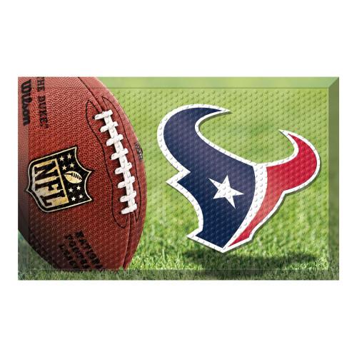 """19"""" x 30"""" Brown and Blue NFL Houston Texans Shoe Scraper Door Mat - IMAGE 1"""