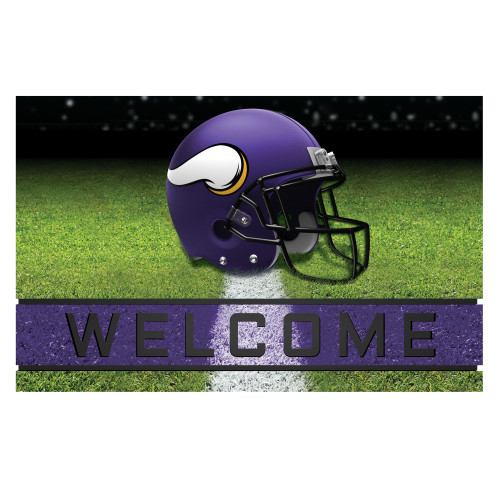 """18"""" x 30"""" Green and Blue Contemporary NFL Vikings Outdoor Door Mat - IMAGE 1"""