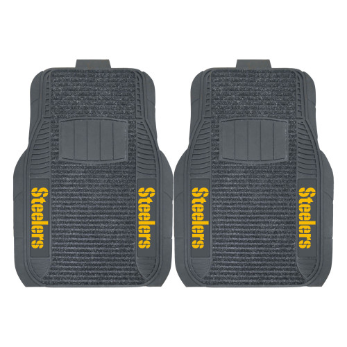 """Set of 2 Gray and Yellow NFL Pittsburgh Steelers Front Car Mats 21"""" x 27"""" - IMAGE 1"""