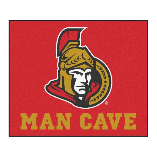 "59.5"" x 71"" Red and White NHL Ottawa Senators ""Man Cave"" Tailgater Rectangular Outdoor Mat Area Rug - IMAGE 1"