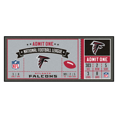"""30"""" x 72"""" Gray and Red NFL Atlanta Falcons Ticket Mat Area Rug Runner - IMAGE 1"""