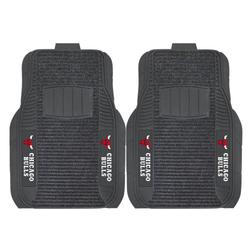 """Set of 2 Black and White NBA Chicago Bulls Deluxe Car Mats 21"""" x 27"""" - IMAGE 1"""