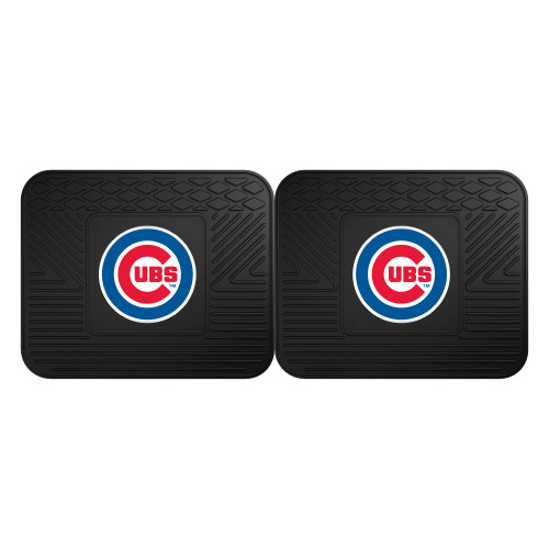 """Set of 2 Black and Red MLB Chicago Cubs Heavy Duty Rear Car Floor Mats 14"""" x 17"""" - IMAGE 1"""