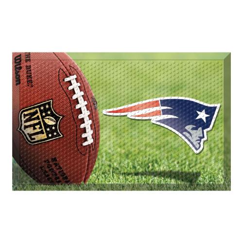 """19"""" x 30"""" Green and Blue NFL New England Patriots Shoe Scraper Door Mat - IMAGE 1"""