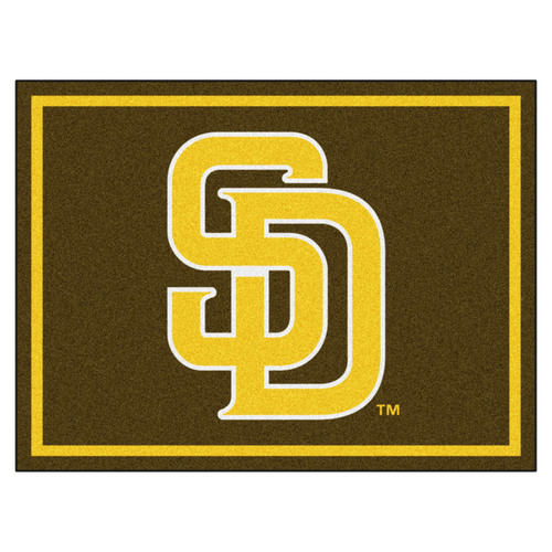 7.25' x 9.75' Yellow Contemporary NCAA San Diego Padres Rectangular Area Rug - IMAGE 1