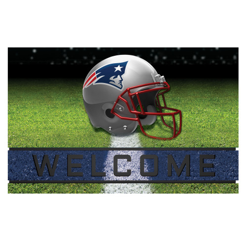"18"" x 30"" Green and Blue Contemporary NFL Patriots Outdoor Door Mat - IMAGE 1"