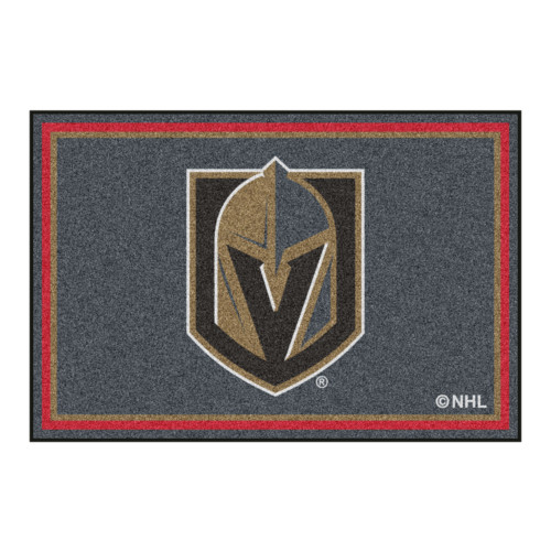 5' x 8' Black and Red NHL Vegas Golden Knights Plush Non-Skid Area Rug - IMAGE 1