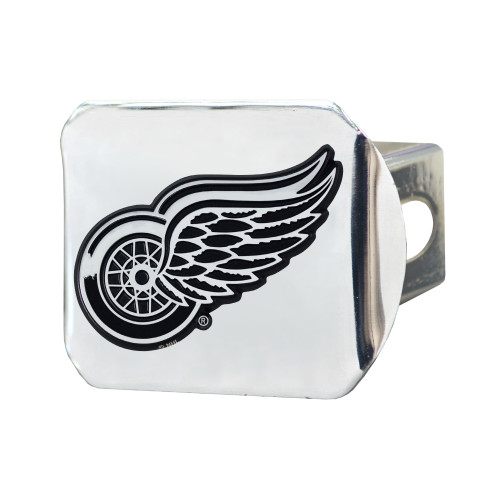 """4"""" x 3.25"""" Silver and Black NHL Detroit Wings Hitch Cover Automotive Accessory - IMAGE 1"""