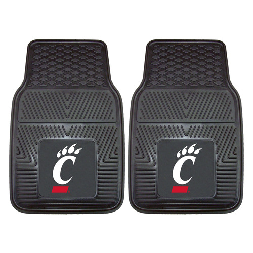 "Set of 2 Black NCAA University of Cincinnati Bearcats Car Mats 17"" x 27"" - IMAGE 1"