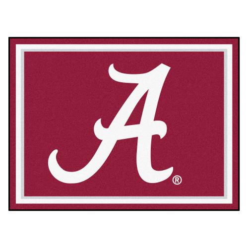 8' x 10' Magenta Pink and White NCAA University of Alabama Crimson Plush Non-Skid Area Rug - IMAGE 1