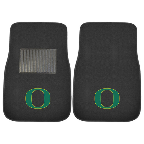 "Set of 2 Black and Green NCAA University of Oregon Ducks Car Mats 17"" x 25.5"" - IMAGE 1"
