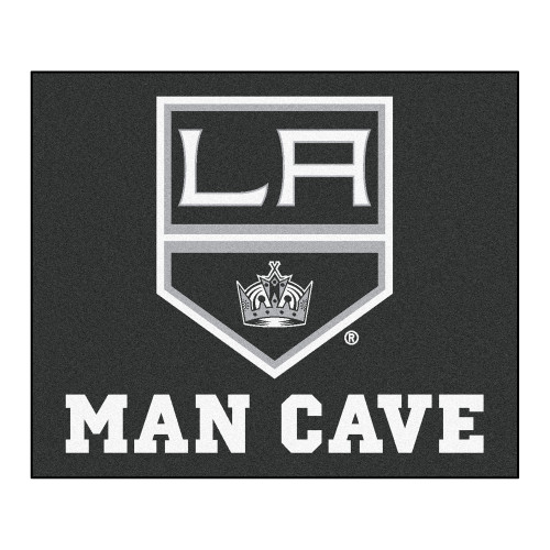 """59.5"""" x 71"""" Black and White NHL Los Angeles Kings """"Man Cave"""" Tailgater Rectangular Mat Area Rug - IMAGE 1"""