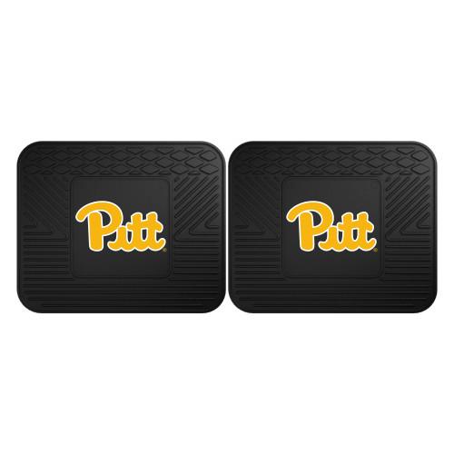 "Set of 2 Black NCAA University of Pittsburgh Panthers Rear Car Seat Utility Mats 14"" x 17"" - IMAGE 1"