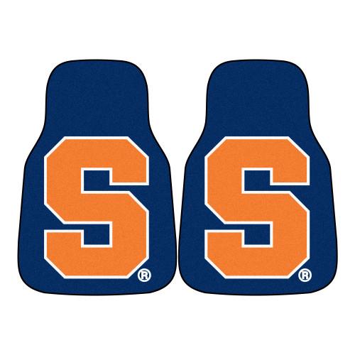 """Set of 2 Blue and Orange NCAA Syracuse University Carpet Car Mats 17"""" x 27"""" - IMAGE 1"""