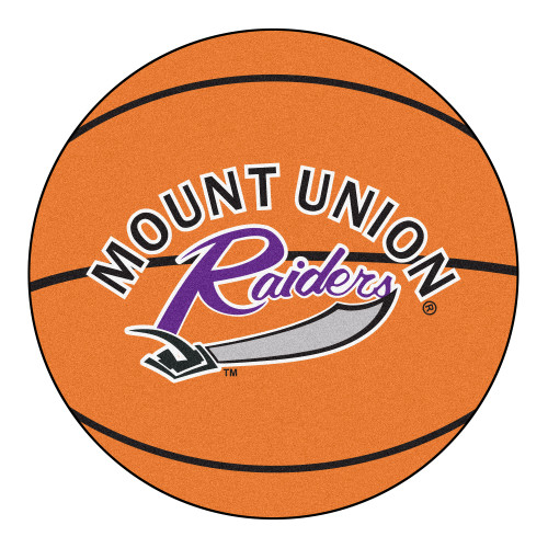 "27"" Orange and Black Contemporary NCAA University of Mount Union Purple Raiders Basketball Round Mat - IMAGE 1"