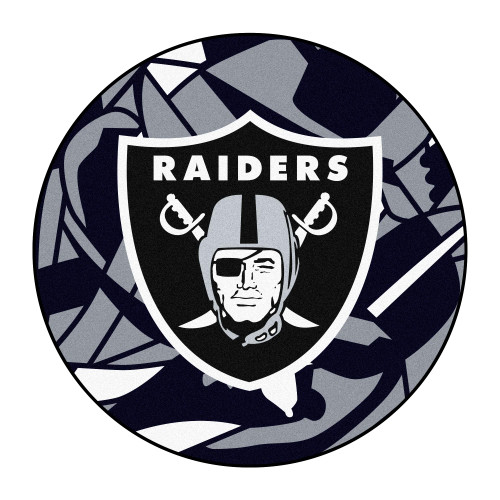 """27"""" Black and Silver NFL Oakland Raiders X-Fit Round Mat - IMAGE 1"""
