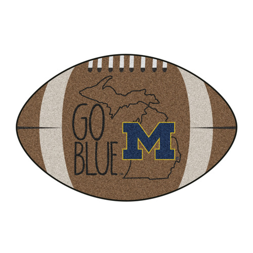 """20.5"""" x 32.5"""" Brown and Blue NCAA University of Michigan Wolverines Mat Area Rug - IMAGE 1"""