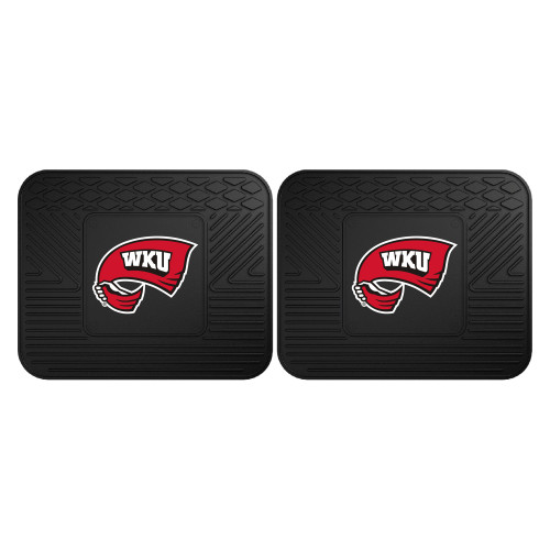 """Set of 2 Black and Red NCAA Western Kentucky University Hilltopper Car Utility Mats 14"""" x 17"""" - IMAGE 1"""
