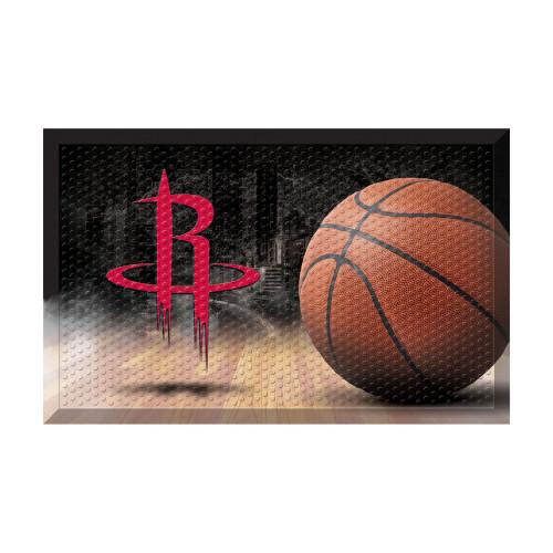 """19"""" x 30"""" Brown and Red NBA Houston Rockets Shoe Scraper Doormat - IMAGE 1"""