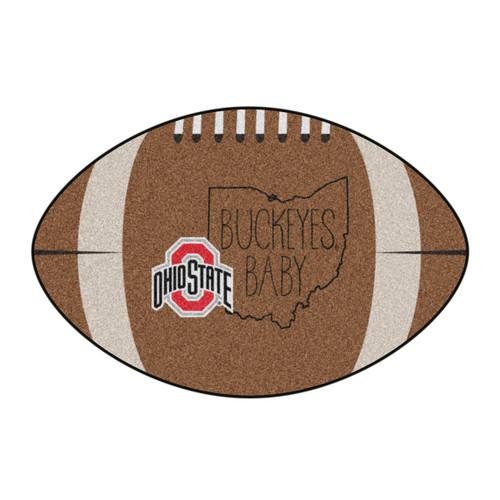 "20.5"" x 32.5"" Brown and Black NCAA Ohio State University Buckeyes Football Shaped Mat Area Rug - IMAGE 1"
