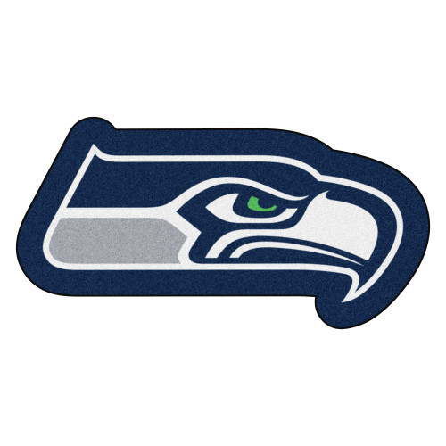 """36"""" x 18.3"""" Blue and Gray NFL Seattle Seahawks Mascot Logo Area Rug - IMAGE 1"""