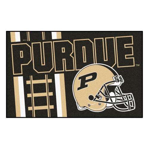 """19"""" x 30"""" Black and White NCAA Boilermakers Starter Mat Rectangular Area Rug - IMAGE 1"""