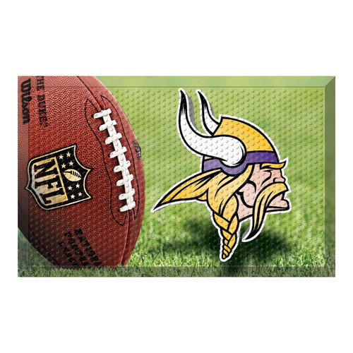 "19"" x 30"" Green and Brown NFL Minnesota Vikings Shoe Scraper Door Mat - IMAGE 1"