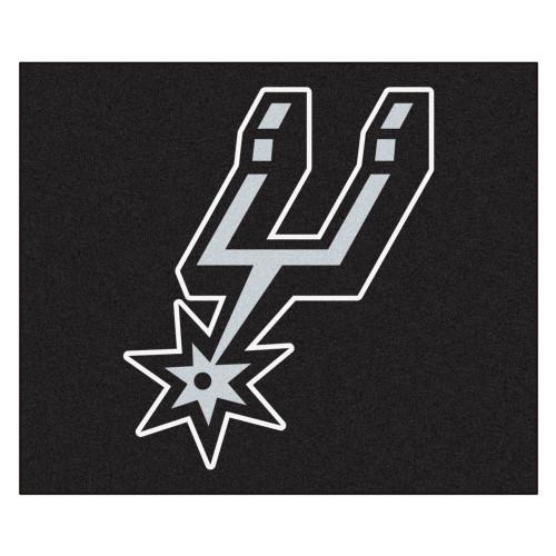 """59.5"""" x 71"""" Black NBA San Antonio Spurs Rectangular Tailgater Mat Outdoor Area Rug - IMAGE 1"""