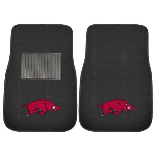 "Set of 2 Black and Red NCAA University of Arkansas Razorbacks Car Mats 17"" x 25.5"" - IMAGE 1"