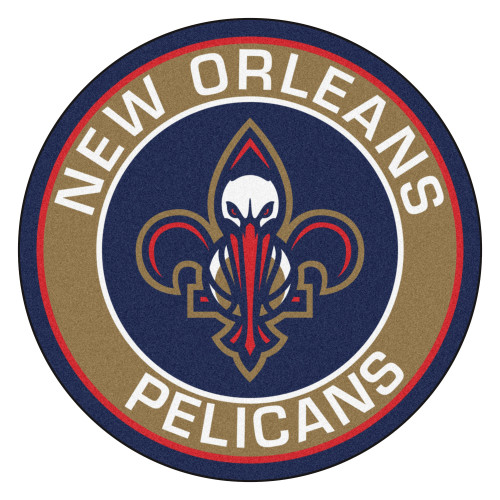 """27"""" Blue and Brown NBA New Orleans Pelicans Rounded Door Mat - IMAGE 1"""